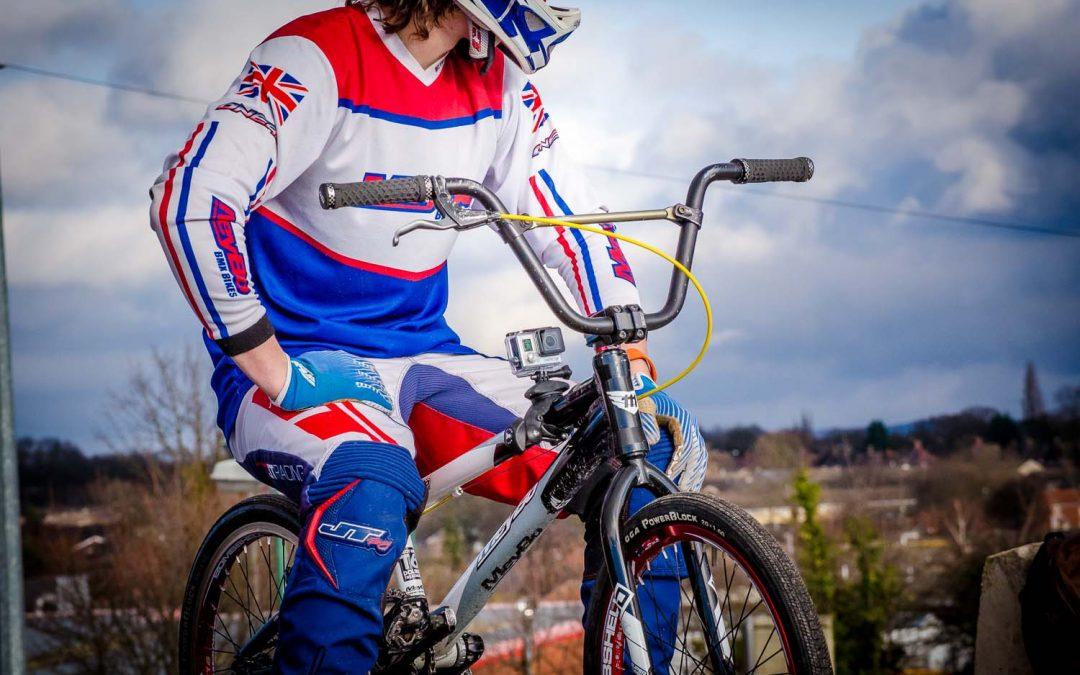 Braden Bradford, BMX champion, poses with his Flymount