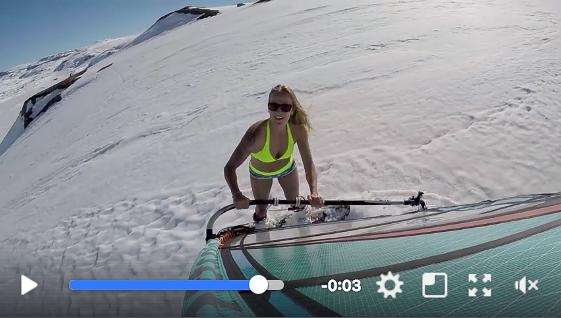Miriam Rasmussen in bikini shoots snowsurfing with help from Flymount
