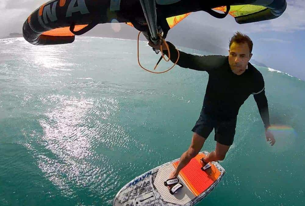 Wingfoiling with John Smalley in Hawaii, shot with Flymount
